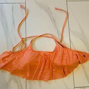 NWT LA VIE EN ROSE Peach colored draped bikini top